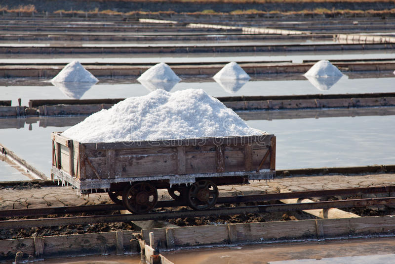 Production de sel dans les étangs de évaporation photos stock