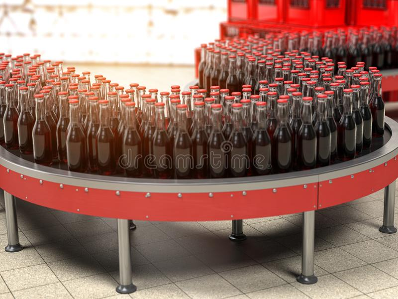 Production des bverages ou du kola de soude Une rangée des bouteilles sur la bande de conveyeur dans l'usine illustration de vecteur