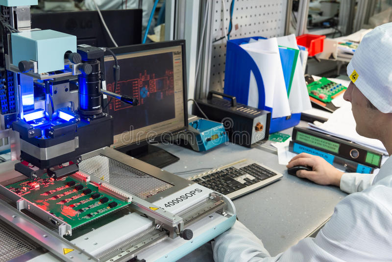 Production of electronic components at high-tech. MOSCOW, RUSSIA - November 27, 2014 - Production of electronic components at high-tech factory stock image