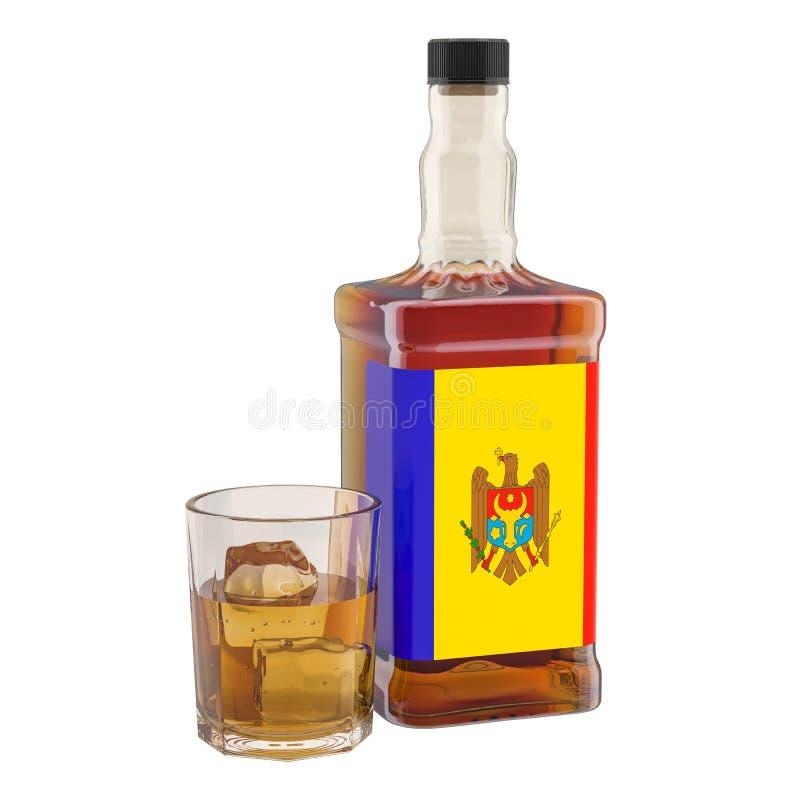 Production et consommation des boissons d'alcool dans Moldau, concept rendu 3d illustration de vecteur