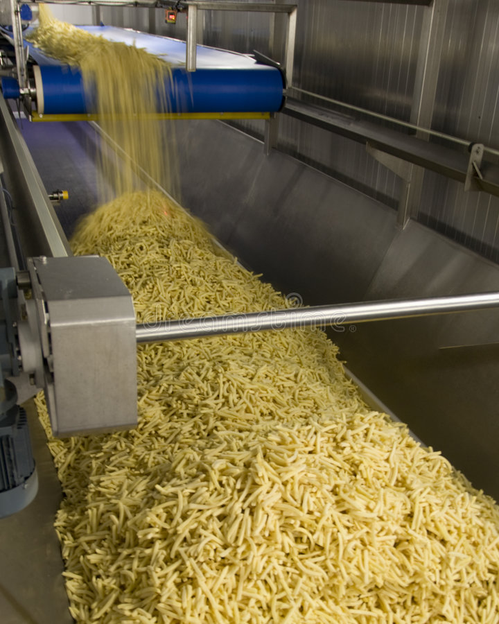 The production of fries stock photos