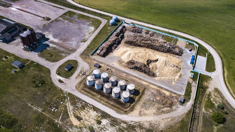 Production of fuel briquettes from wood waste, aerial photography from a drone.  stock photo