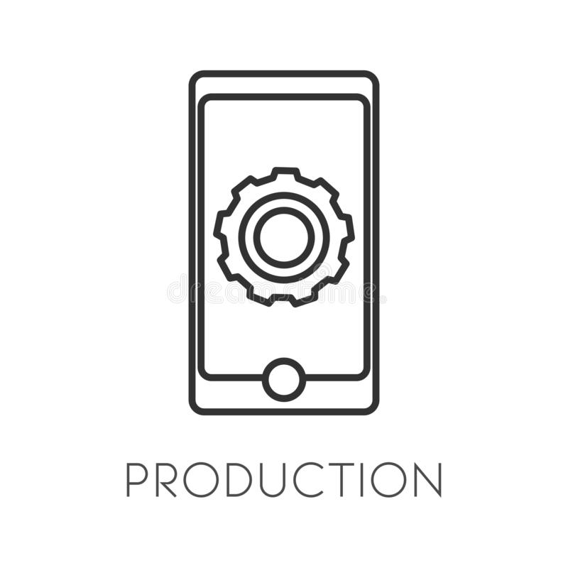 Production isolated icon, mobile gadget or smartphone with cogwheels linear symbol stock illustration