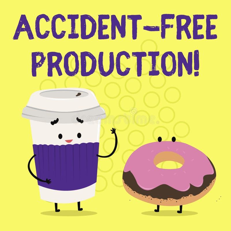 Production libre d'accidents d'apparence de signe des textes Productivité conceptuelle de photo sans travailleurs blessés aucun i illustration stock