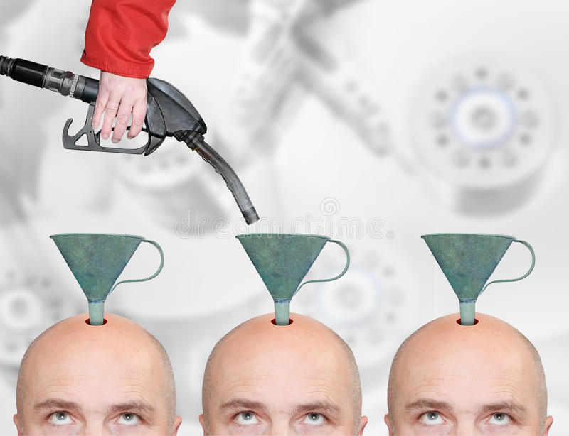 Production line for education or brainwashing. royalty free stock photo
