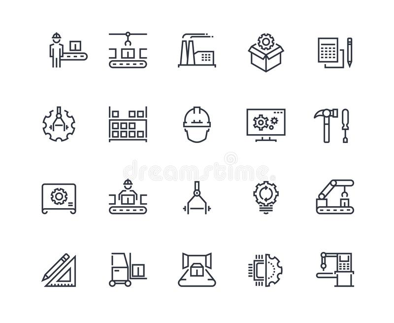 Production line icons. Industry machine production, factory conveyor line, automatic robot manipulator. Industrial royalty free illustration