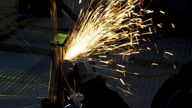 Production of metal structures. Processing of metal products and metal structures at the factory, factory, enterprise and organiza stock photos
