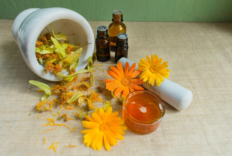 Production of natural cosmetics. Medicinal flowers of calendula, chamomile, mint and herbal tincture. Medicinal herbs. Organic cos royalty free stock images