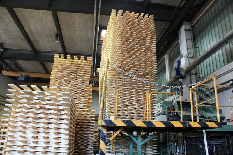 Production of pallets in the interior. At the factory stock photos