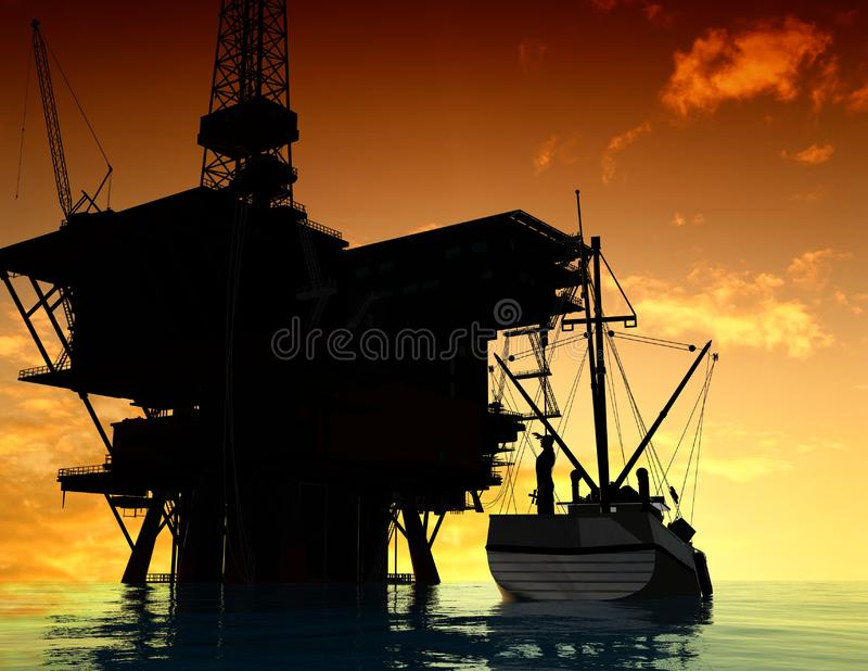 Download Production of petroleum stock illustration. Illustration of ocean - 10353228