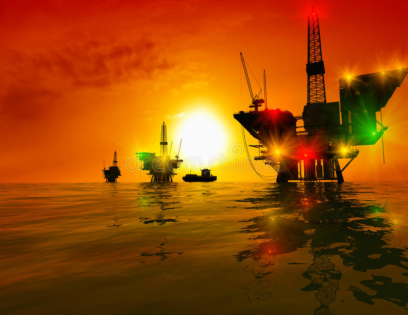 Production of petroleum. In the sea
