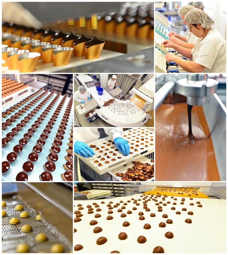 Production of pralines in a factory for the food industry - conveyor belt worker with chocolate royalty free stock images