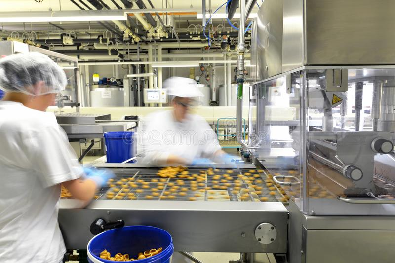 Production of pralines in a factory for the food industry - women working on the assembly line royalty free stock photography