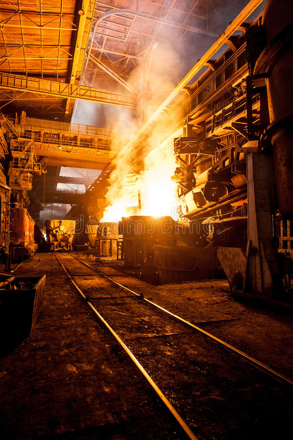Production process in the steel mill stock photography