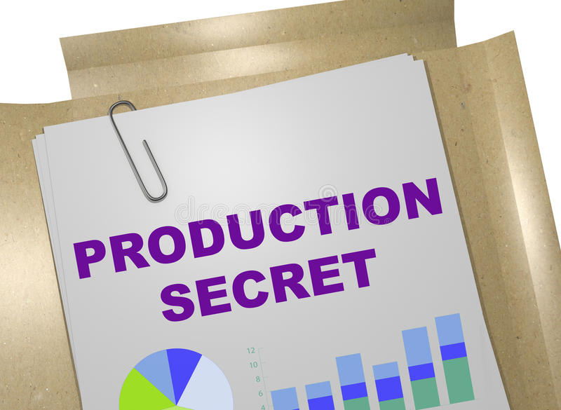 Production Secret concept. 3D illustration of PRODUCTION SECRET title on business document royalty free stock image