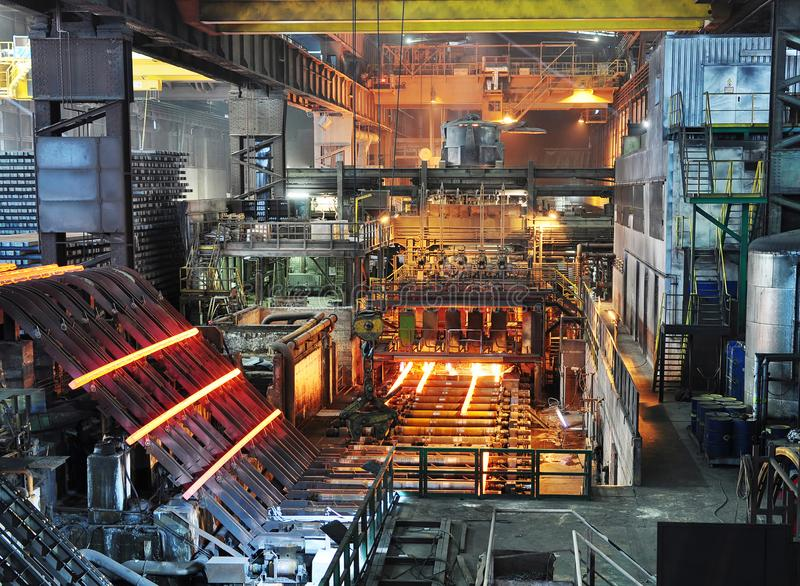 Production of steel in a steel mill - production in heavy industry stock images