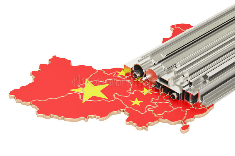 Production and trade of metal products in China, concept. 3D rendering stock illustration