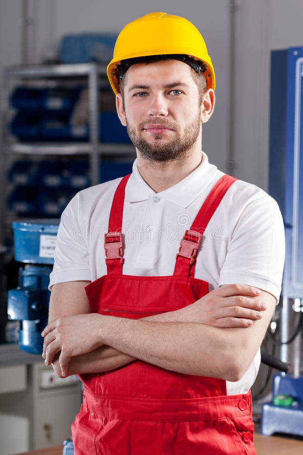 Production worker in factory royalty free stock images