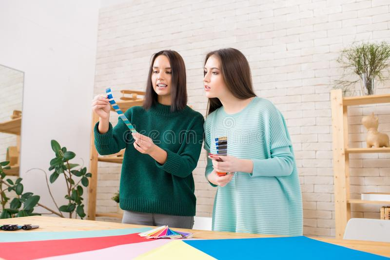 Productive Discussion of Interior Designers stock image