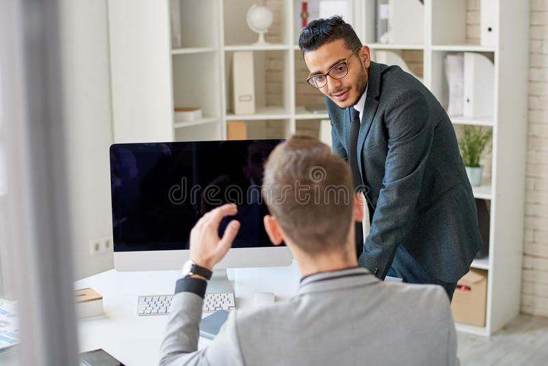 Productive Discussion of Joint Project stock photo