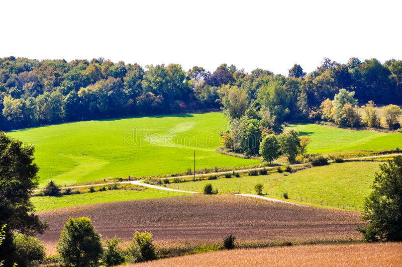 Productive Iowa Farm Land. Fields, pastures and woodlands of northeast Iowa stock images