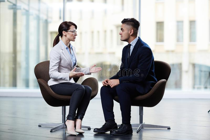 Productive Negotiations at Modern Boardroom royalty free stock images