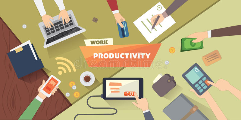 Productive office workplace. Productivity business strategy flat illustration. Productive office workplace. Productivity business strategy flat illustration vector illustration