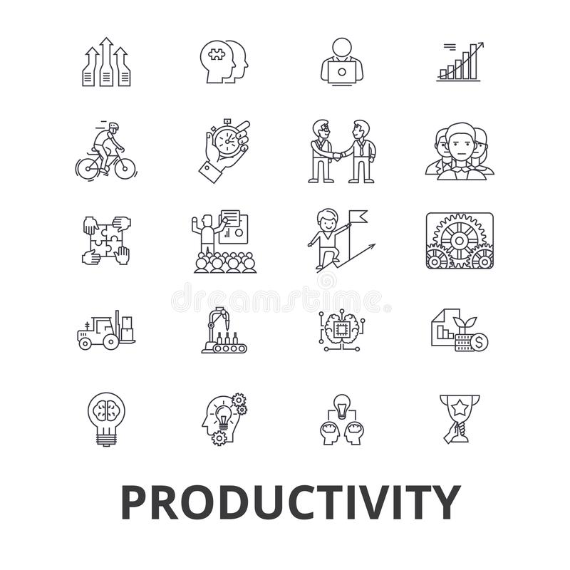 Productividad, eficacia, aumento, innovación, negocio, crecimiento, línea iconos del beneficio Movimientos Editable Diseño plano libre illustration