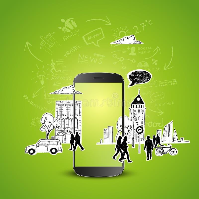 Productividad móvil stock de ilustración