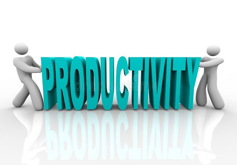 Productivité - les gens poussent le mot ensemble illustration libre de droits
