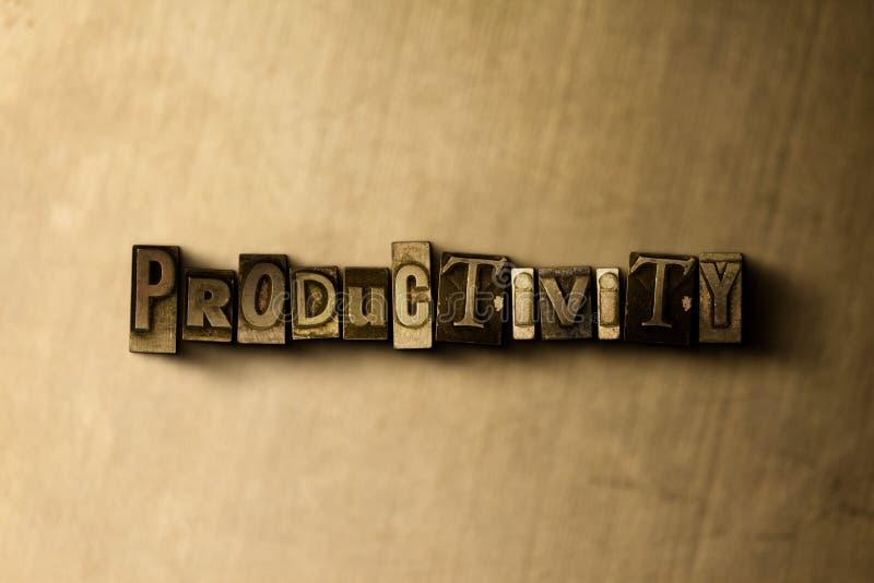 PRODUCTIVITÉ - plan rapproché de mot composé par vintage sale sur le contexte en métal illustration de vecteur