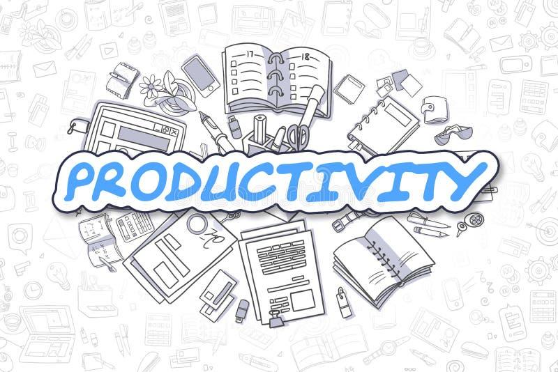 Productivité - texte de bleu de bande dessinée Concept d'affaires illustration stock