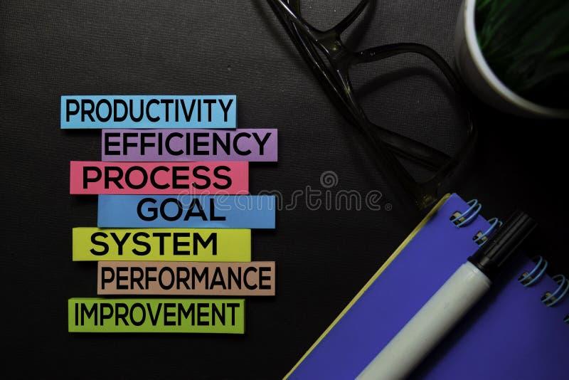 Productiviteit, Efficiency, Proces, Doel, Systeem, Prestaties, Verbeteringstekst op kleverige nota's die op Zwart bureau worden g royalty-vrije stock foto