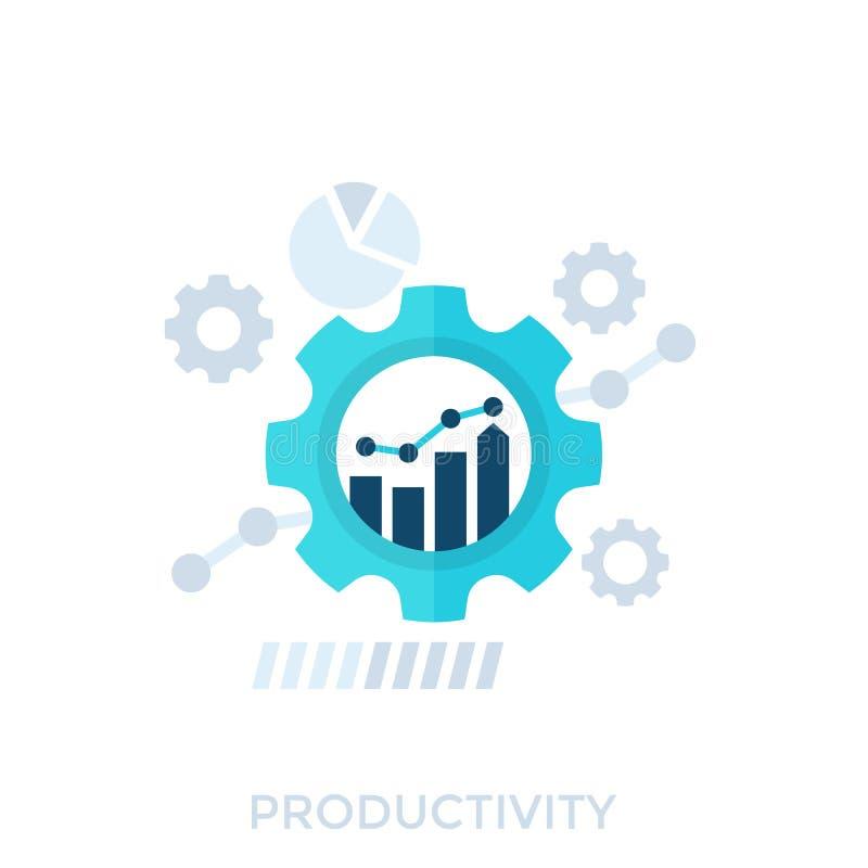 Productiviteit, productiecapaciteit en prestaties stock illustratie