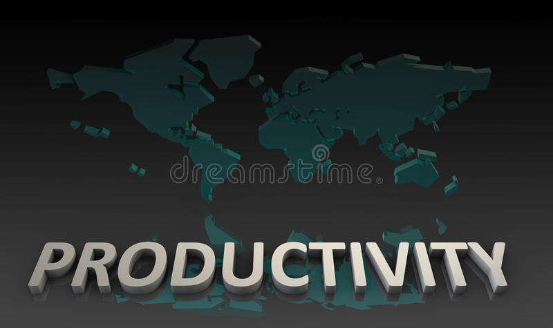 Productivity. And Global Output Worldwide in 3d royalty free illustration