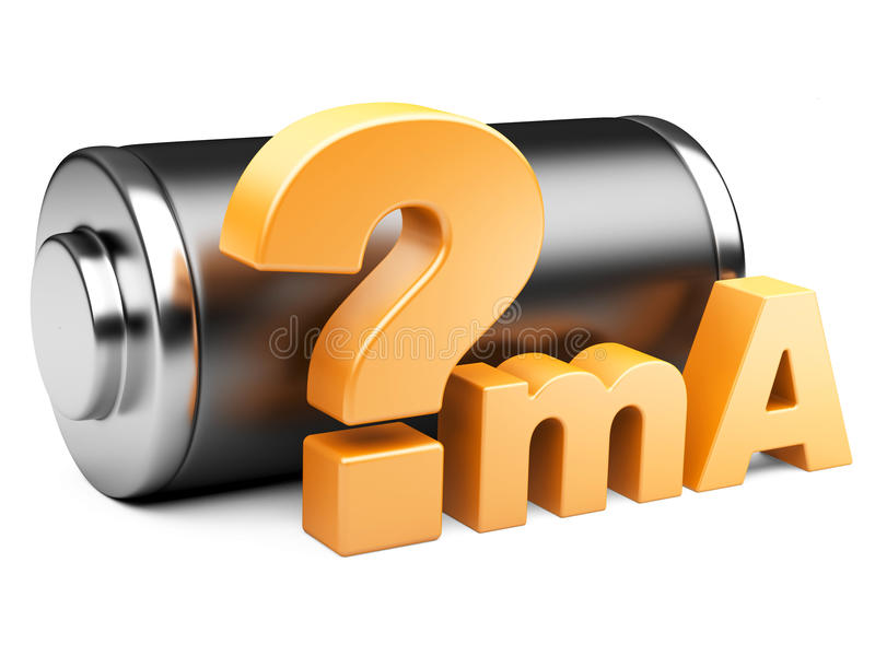 Productivity of the accumulator in portable devices. The battery and a sign on a question isolat on a white background vector illustration