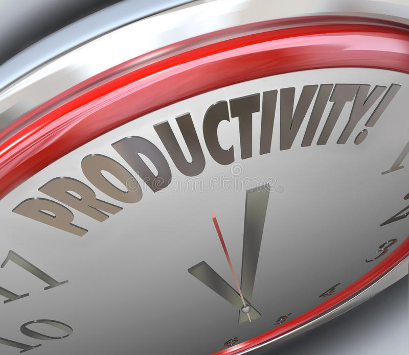 Productivity Clock Increase Efficiency Output More Done Less Tim vector illustration