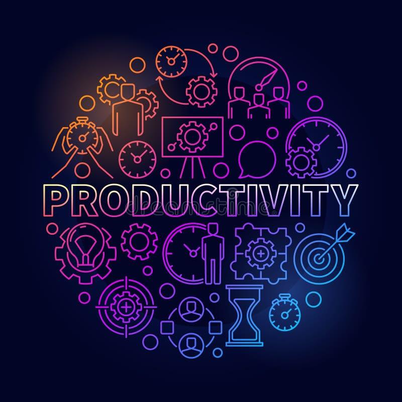 Productivity colorful round illustration stock illustration