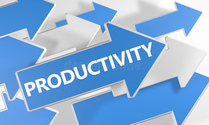 Productivity. 3d render concept with blue and white arrows flying over a white background stock illustration