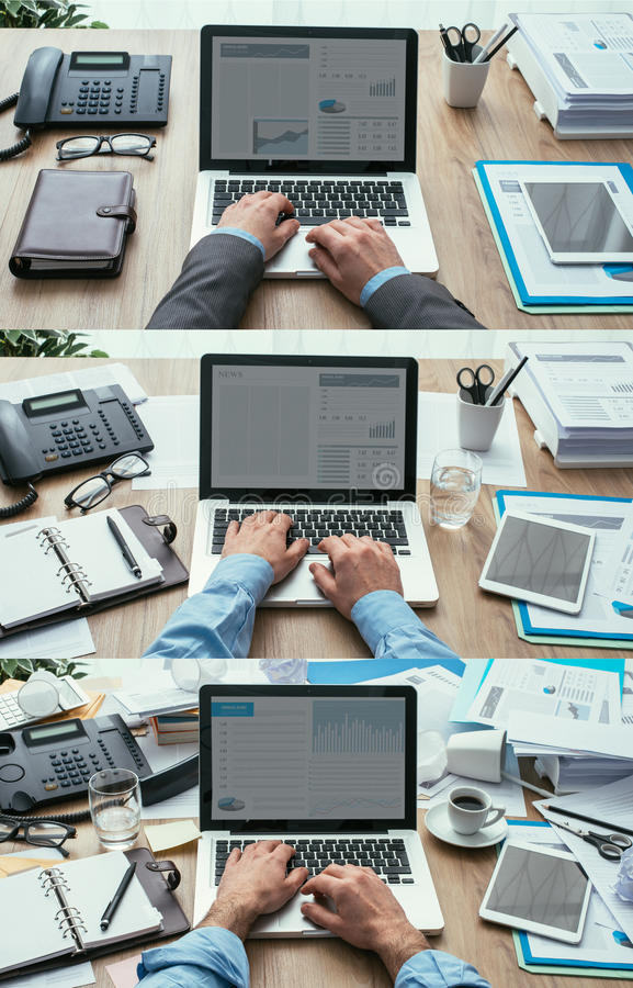 Productivity and deadlines. Set of business desktops and workspace types, from clean and organized to cluttered and messy, productivity and deadlines concept royalty free stock photos