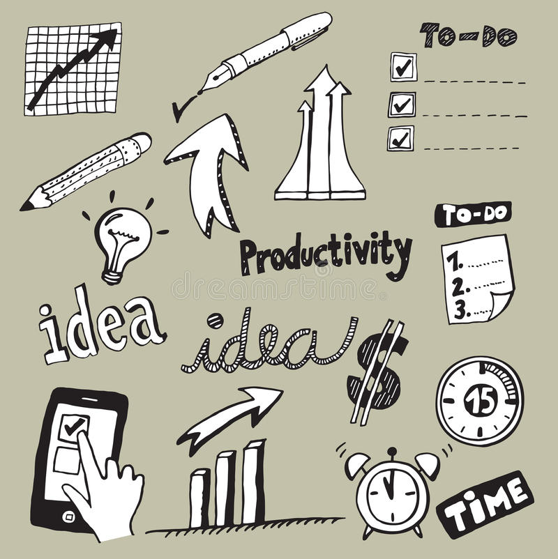 Productivity Doodles. Set of Productivity Doodles, Icons and Sketches royalty free illustration
