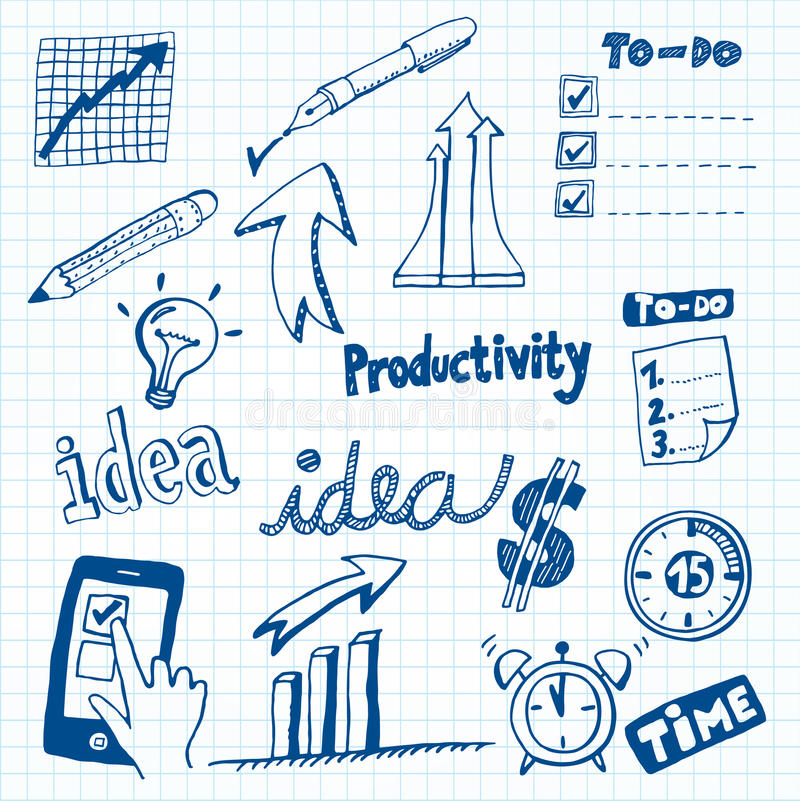 Productivity Doodles. Set of Productivity Doodles, Icons and Sketches stock illustration