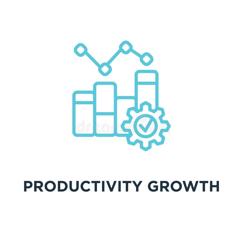 Productivity Growth Line Icon. Productivity Growth Line Concept Stock Vector - Illustration of manufacturing, graph: 134302549