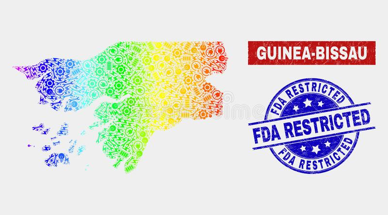 Rainbow Colored Service Guinea-Bissau Map and Distress FDA Restricted Stamps. Productivity Guinea-Bissau map and blue FDA Restricted textured seal. Rainbow vector illustration