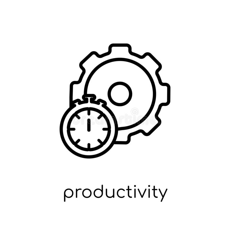Productivity icon from collection. Productivity icon. Trendy modern flat linear vector productivity icon on white background from thin line collection, outline stock illustration