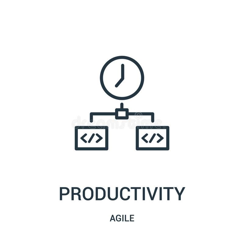 productivity icon vector from agile collection. Thin line productivity outline icon vector illustration stock illustration