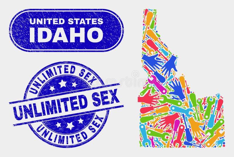 Productivity Idaho State Map and Grunge Unlimited Sex Seals. Productivity Idaho State map and blue Unlimited Sex grunge seal stamp. Bright vector Idaho State map vector illustration