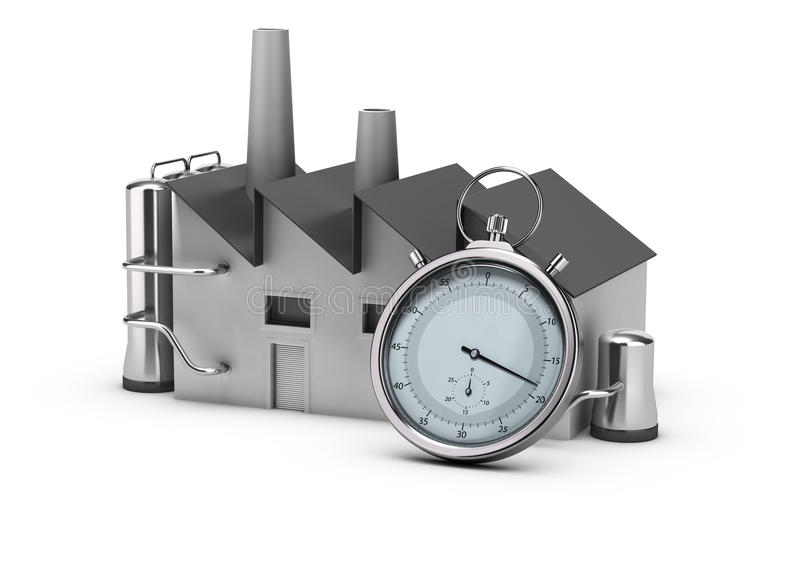 Productivity. Illustration of productivity. 3D render of a factory and a stopwatch. Image over white background vector illustration