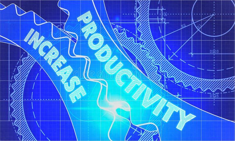 Productivity Increase on the Cogwheels. Blueprint stock illustration