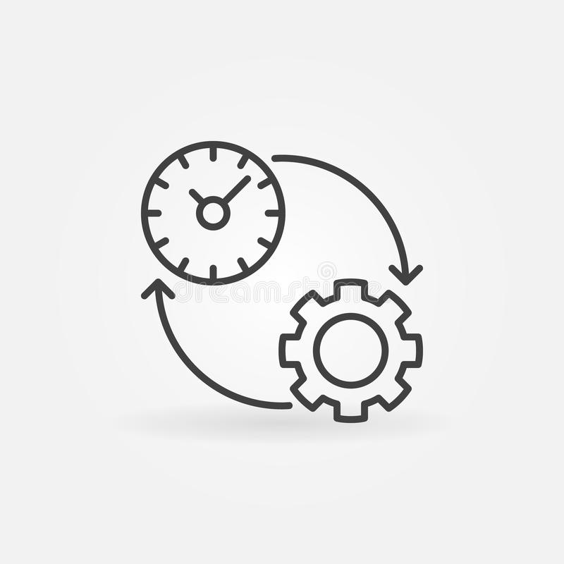 Productivity line icon. Vector time management and productivity concept symbol vector illustration